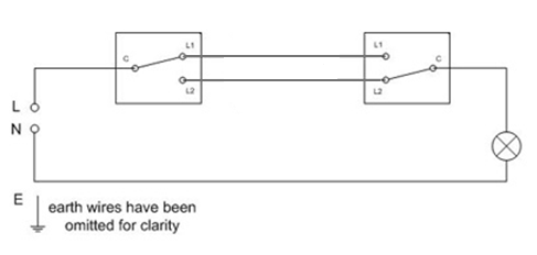 two way lighting circuit two way lighting circuit wiring sparkyfacts co uk wiring diagram for 1 light with 2 switches at crackthecode.co